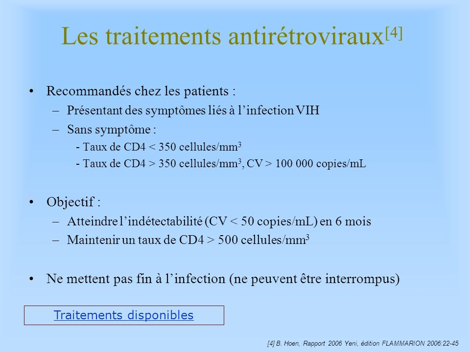 Les traitements antirétroviraux[4]